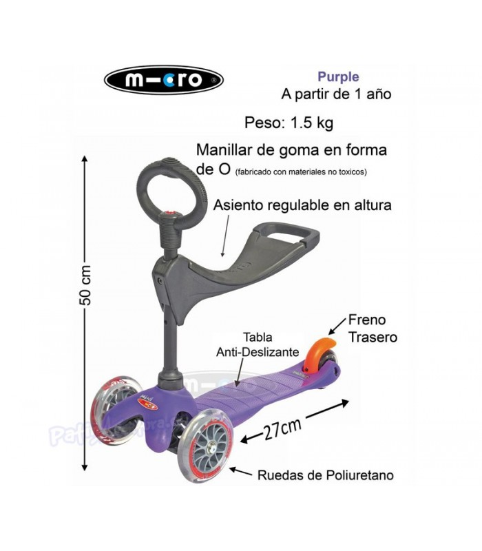 Scooter Mini Micro 3en1 Deluxe Plus Rojo Rubí Junior