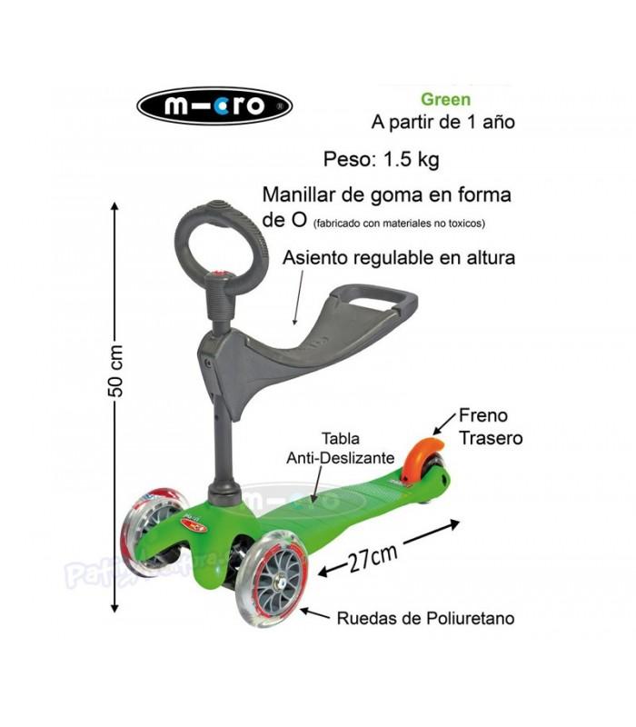 Scooter Mini Micro 3en1 Verde Junior