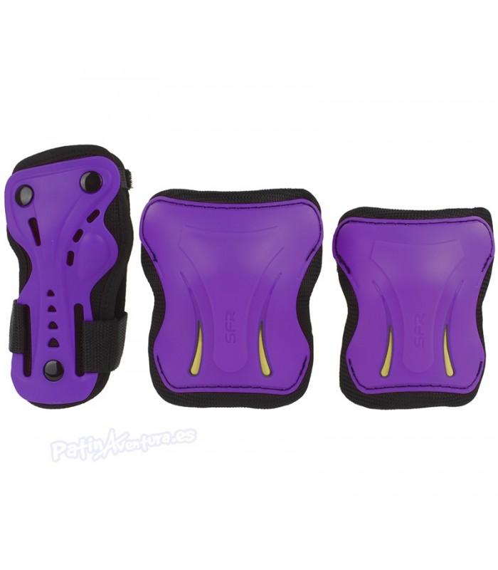 Protecciones Essentials Pack 3 Morado Junior