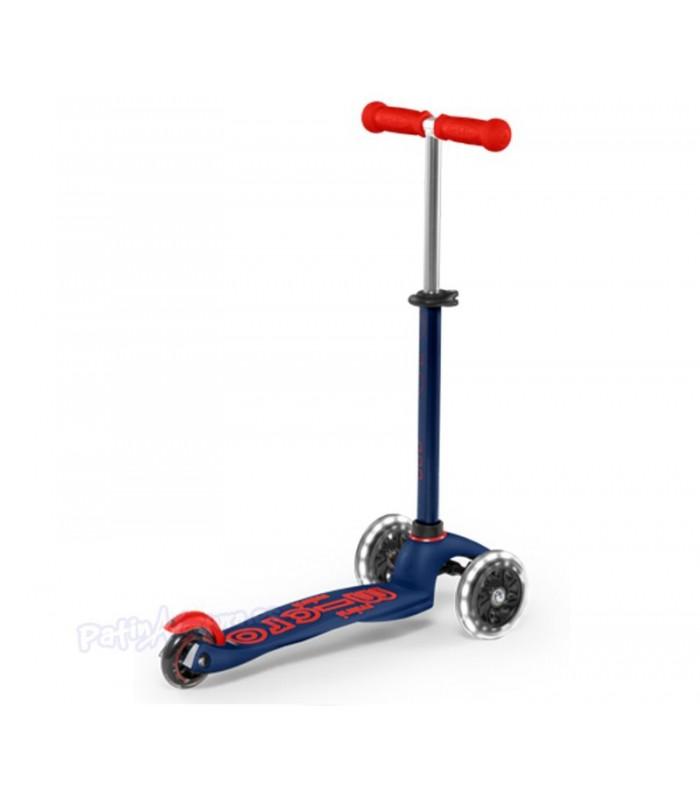 Patinete Scooter Mini Micro Deluxe Azul/Rojo Led Infantil