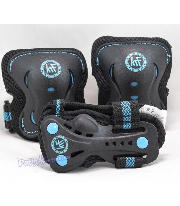 Protecciones Patines Pack 3 KRF Negro/Azul Junior