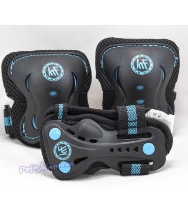 Protecciones Patines Pack 3 KRF Negro/Azul Niños
