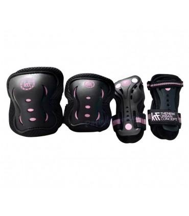 Protecciones Patines Pack 3 KRF Negro/Rosa Niñas